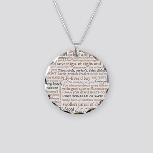 Shakespeare Insults Necklace Circle Charm