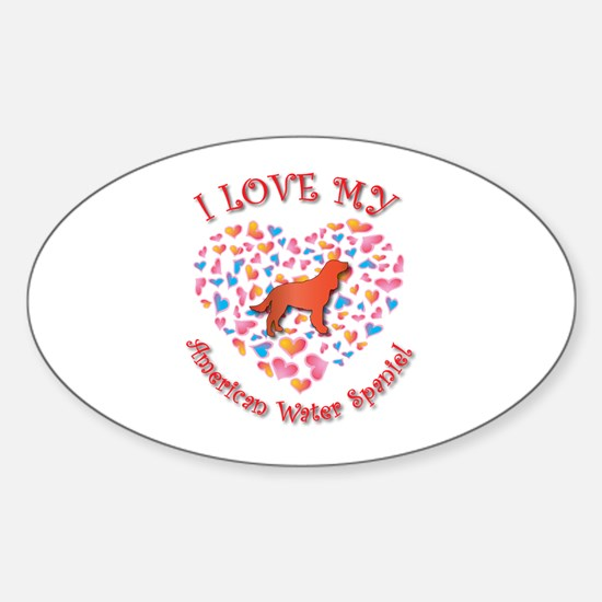Love Spaniel Oval Decal