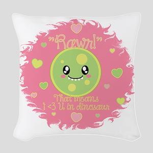Dino love Woven Throw Pillow