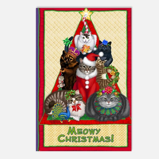 Meowy Christmas Postcards (Package of 8)