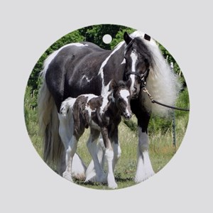 Champion Gypsy mare and colt Round Ornament