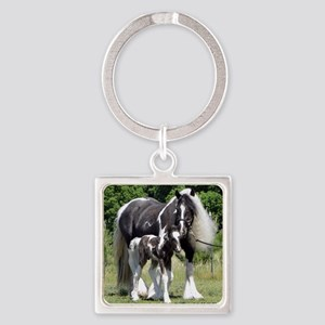 Champion Gypsy mare and colt Square Keychain