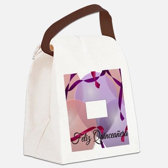 FelizQuinceaneraPicFrameRosaMorad Canvas Lunch Bag