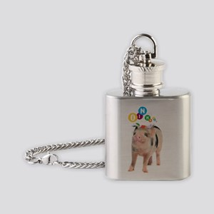Cute spotty micro pig girl with bow Flask Necklace
