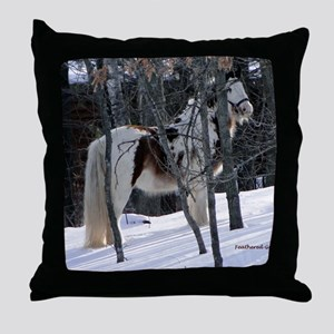 Gypsy Gelding in Winter Setting Throw Pillow