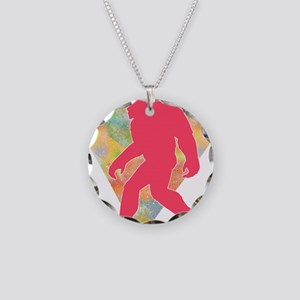 Bigfoot Heart Necklace Circle Charm