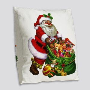 Santa Claus! Burlap Throw Pillow