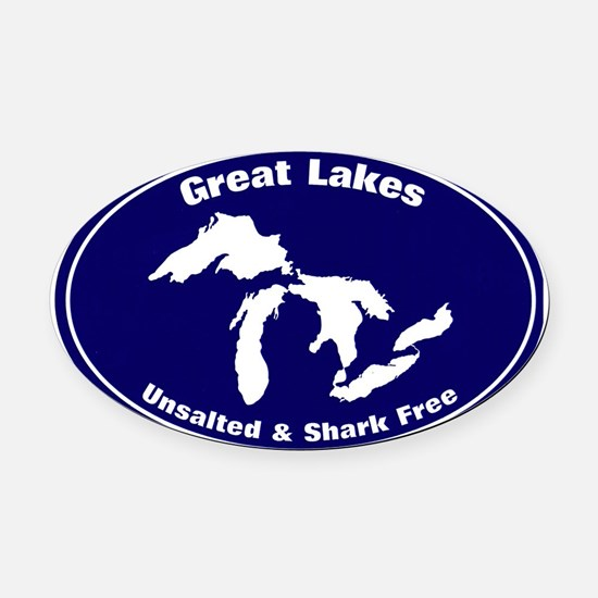 GREAT LAKES SHARK FREE Oval Car Magnet
