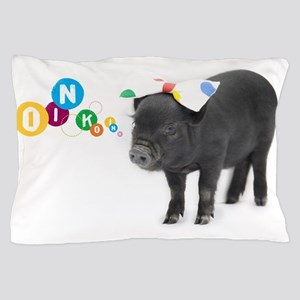 Little female micro pig with bow Pillow Case