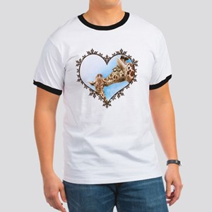 Giraffe and Calf Snowflake Heart T-Shirt Ringer T
