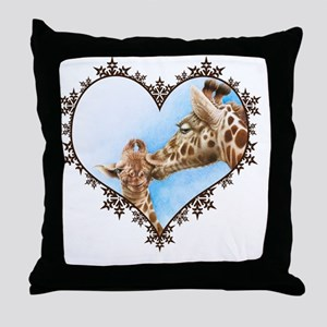 Giraffe and Calf Snowflake Heart T-Sh Throw Pillow