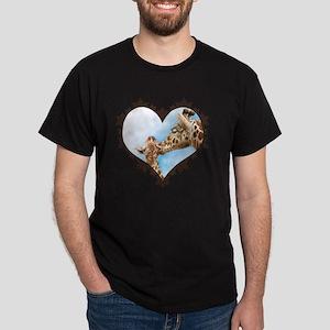 Giraffe and Calf Snowflake Heart T-Sh Dark T-Shirt