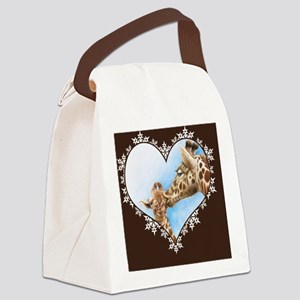 Giraffe  Calf Snowflake Heart Thr Canvas Lunch Bag