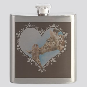 Giraffe  Calf Snowflake Heart Throw Pillow Flask
