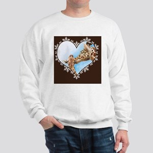 Giraffe  Calf Snowflake Heart Throw Pil Sweatshirt