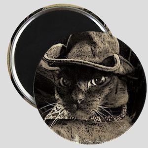 Cowboy Cat, 4, sepia Magnet