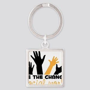BeThe Change Square Keychain