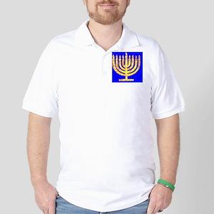Blue Glowing Chanukah Menorah Designer Golf Shirt