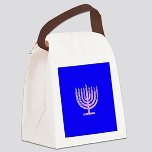 Blue Chanukah Menorah Designer Canvas Lunch Bag