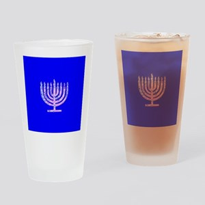 Blue Chanukah Menorah Designer Drinking Glass