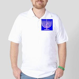 Blue Chanukah Menorah Designer Golf Shirt