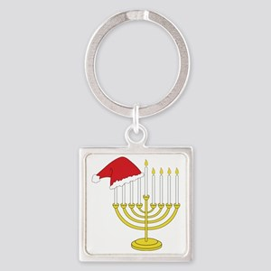 Hanukkah And Christmas Square Keychain