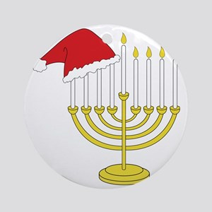 Hanukkah And Christmas Round Ornament