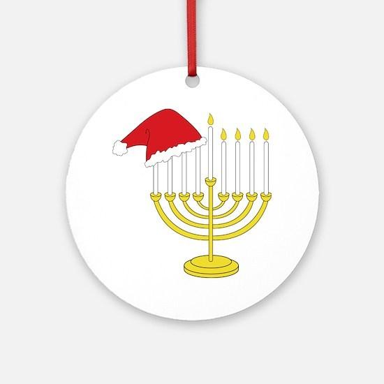 Hanukkah And Christmas Round Ornament
