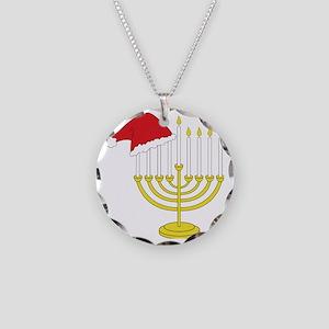 Hanukkah And Christmas Necklace Circle Charm
