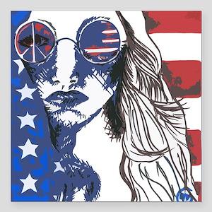 "American Peace Seeker Square Car Magnet 3"" x 3"""