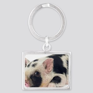 Micro pig chilling out Landscape Keychain