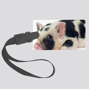 Micro pig chilling out Large Luggage Tag