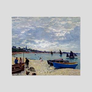 Monet The Beach at Sainte Adresse Throw Blanket