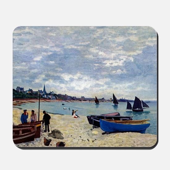 Monet The Beach at Sainte Adresse Mousepad