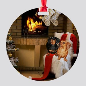By the Fireplace Round Ornament