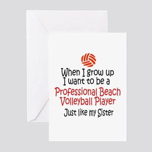 WIGU Pro Beach Volleyball Sister Greeting Cards (P