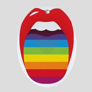 Lipstick Lesbian Domination Oval Ornament