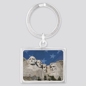 Patriotic Mt Rushmore Landscape Keychain