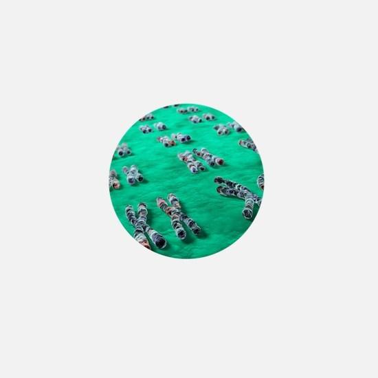 Human chromosomes, computer artwork Mini Button