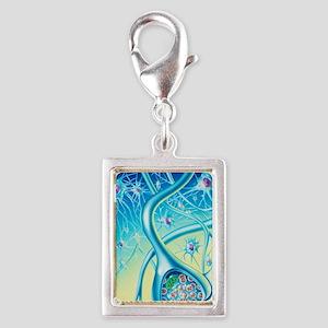 Nerve synapse Silver Portrait Charm