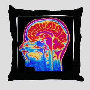 MRI scan of normal brain Throw Pillow