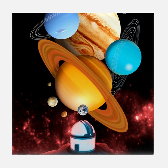 Observing the planets Tile Coaster