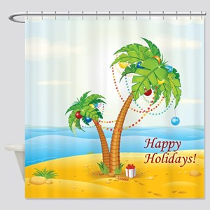 Palm Tree Holiday Shower Curtain