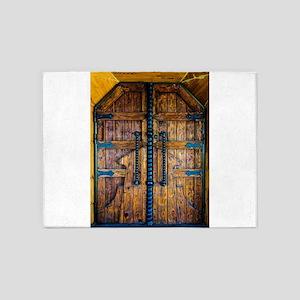 Old ancient wooden door vintage ret 5'x7'Area Rug