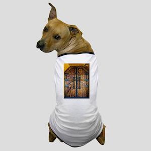 Old ancient wooden door vintage retro Dog T-Shirt