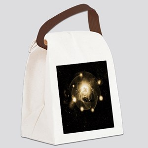 Atom, artwork Canvas Lunch Bag