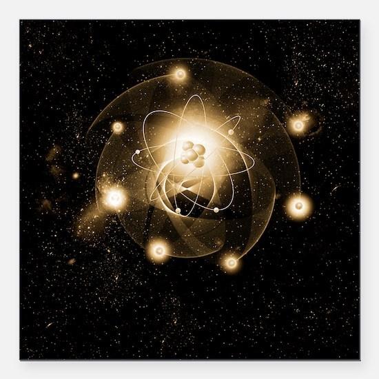 """Atom, artwork Square Car Magnet 3"""" x 3"""""""