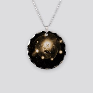 Atom, artwork Necklace Circle Charm
