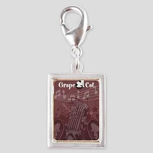 Grape Cat Kindle Silver Portrait Charm