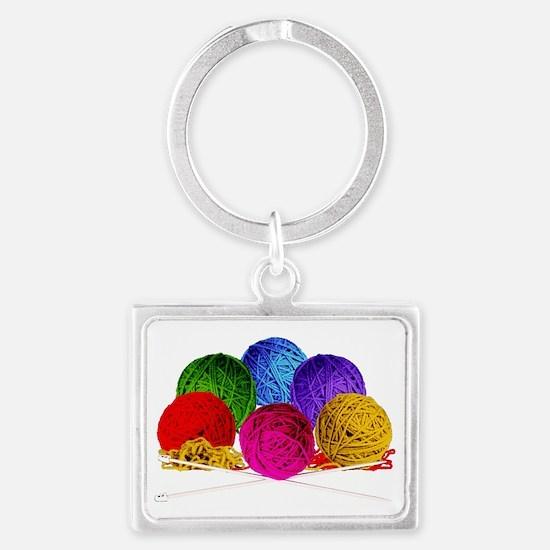 Great Balls of Bright Yarn! Landscape Keychain